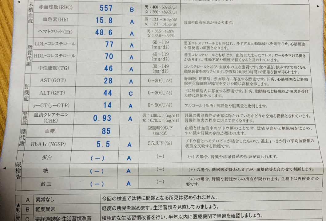 健康診断の結果表